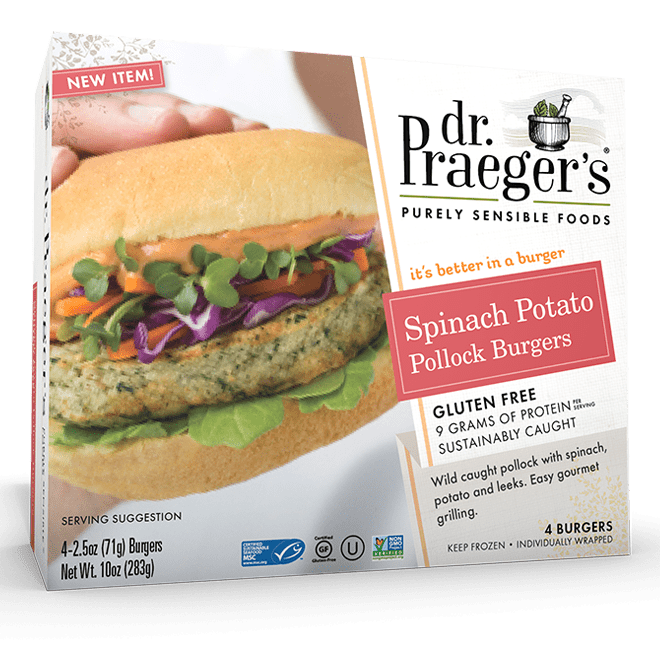 Dr Praeger's Spinach Potato Pollock Burger