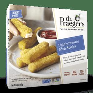 Dr. Praeger's Family Lightly Breaded Fish Sticks Package