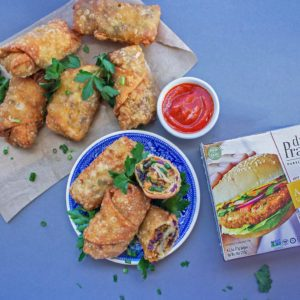 asian veggie burger baked egg rolls recipe from Dr. Praeger's