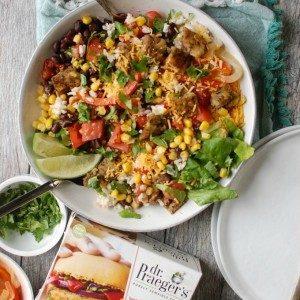 4 Burrito Bowls with Heirloom Bean Veggie Burgers