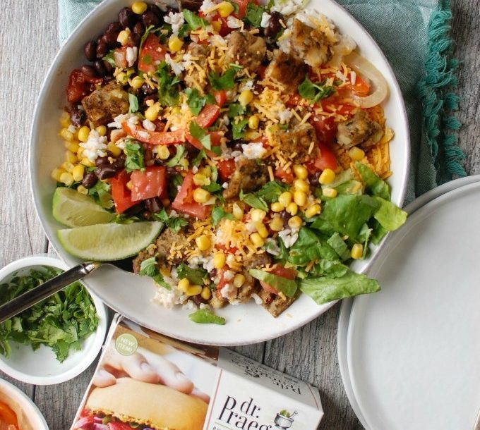 4 Burrito Bowls with Heirloom Bean Veggie Burgers