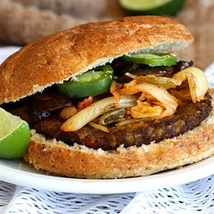 korean veggie burger with kimchi from Dr. Praeger's