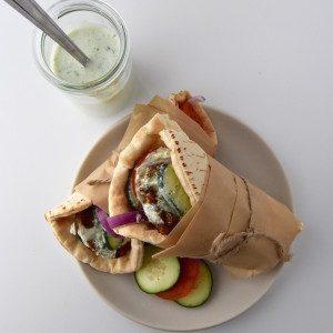 Greek Veggie Pita Sandwich with Parsley Tzatziki