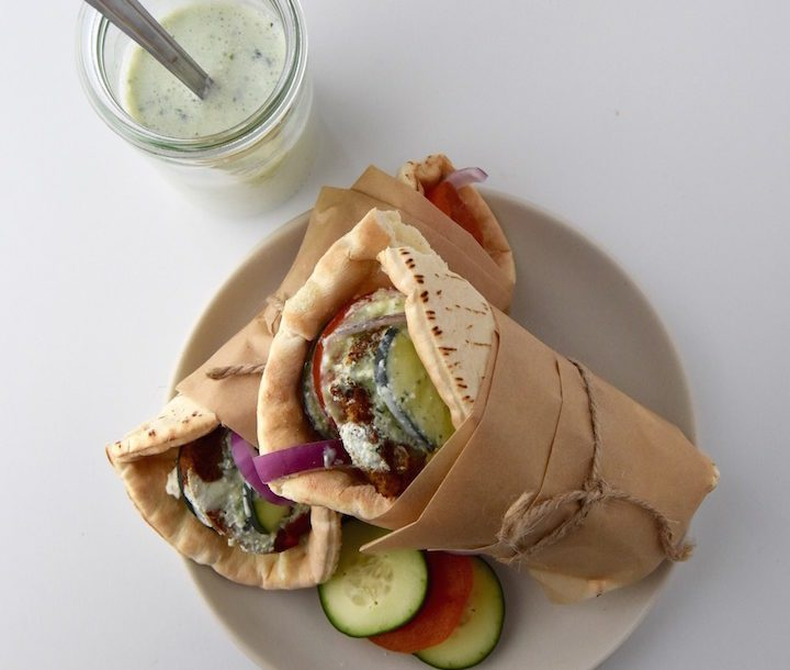 Greek Veggie Pita Sandwich with Parsley Tzatziki