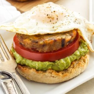 Open Faced Egg, Avocado and Hash Brown Breakfast Sandwich