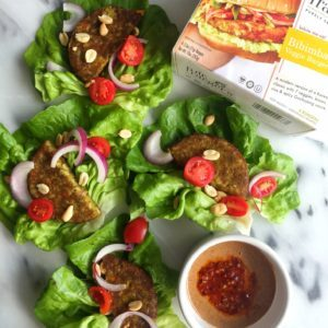 bibimbap veggie burger wraps from Dr. Praeger's