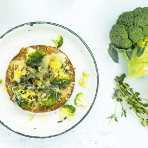 broccoli cheddar melts with California Veggie Burger recipe from Dr. Praeger's