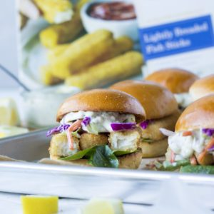 lightly breaded fish stick sliders recipe from Dr. Praeger's