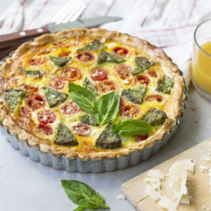 Spinach tomato quiche recipe from Dr. Praeger's