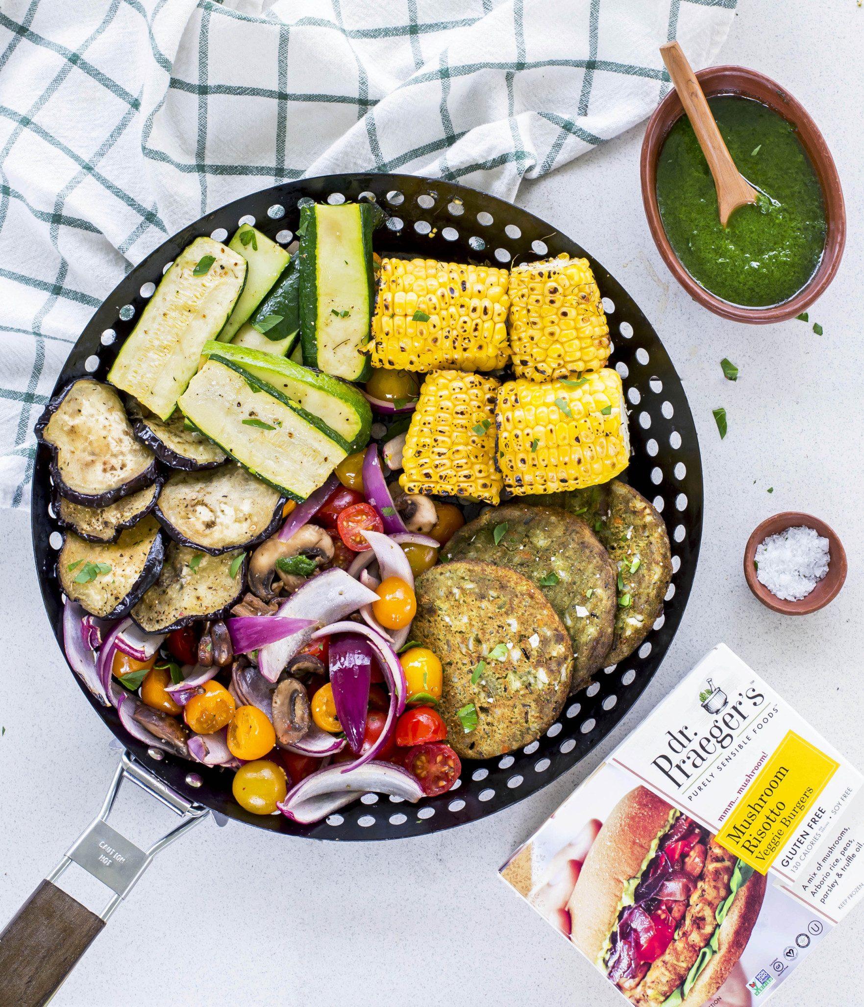 One Grill Basket Veggie Platter With Vegan Pesto Dressing Dr Praeger S Sensible Foods