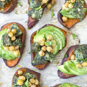 sweet potato avocado toasts recipe from Dr. Praeger's