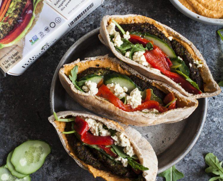 Mediterranean Pita Pockets with Kale Burgers, Roasted Red Pepper Hummus and Crumbled Tofu Feta