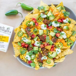 nacho pile up recipe with black bean burger from Dr. Praeger's