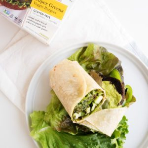 green wrap with super greens veggie burger recipe from Dr. Praeger's