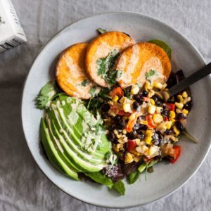 loaded sweet potato bowls recipe from Dr. Praeger's