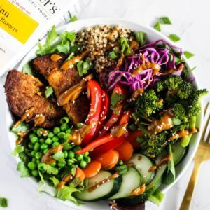 asian veggie burger bowl recipe from Dr. Praeger's
