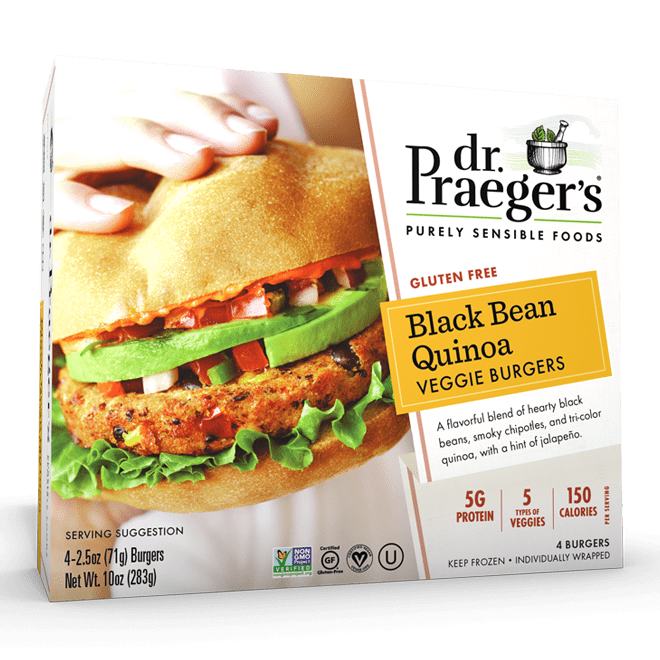 Dr. Praeger's Black Bean Quinoa Veggie Burgers Package