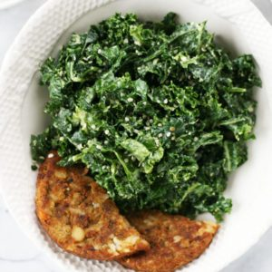 Veggie burger super greens bowl recipe from Dr. Praeger's