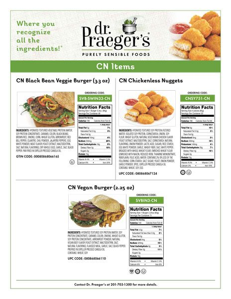 CN Items Child Nutrition Labeled from Dr. Praeger's nutritional facts