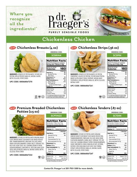 chickenless chicken items nutritional facts from Dr. Praeger's