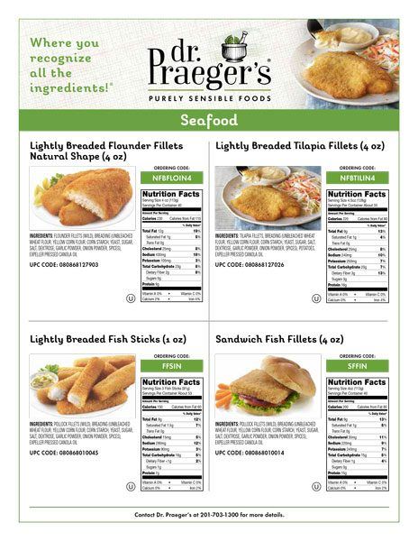 seafood items nutritional facts from Dr. Praeger's