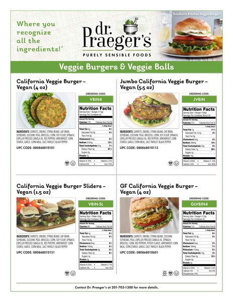veggie burgers nutritional facts from Dr. Praeger's