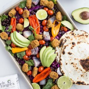 sheet pan tacos recipe from Dr. Praeger's