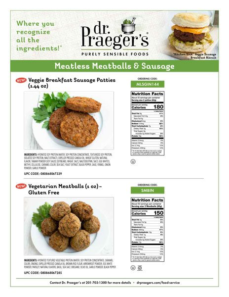 Meatless sausage and meatballs from Dr. Praeger's