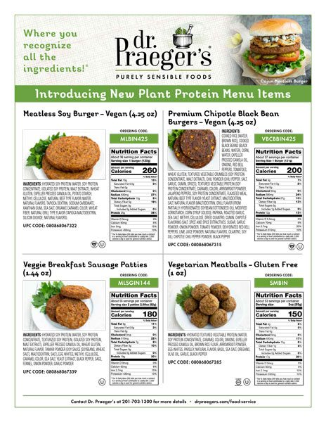 new plant protein menu items nutritional facts from Dr. Praeger's