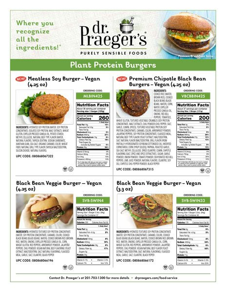 plant protein burgers nutritional information from Dr. Praeger's