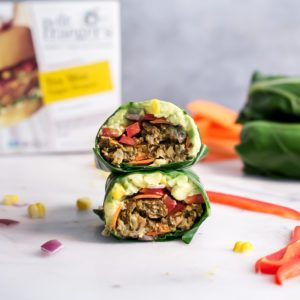 tex mex veggie burger collard wraps recipe from Dr. Praeger's