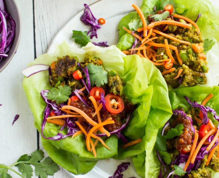 Asian veggie burger wraps recipe from Dr. Praeger's