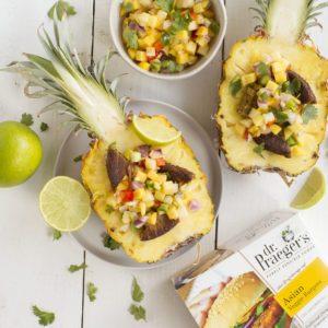 asian veggie burger stuffed pineapples from Dr. Praeger's