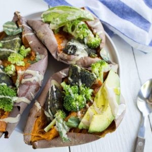 stuffed sweet potatoes recipe from Dr. Praeger's
