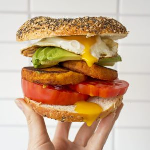 Sweet Potato Hash Brown Bagel Sandwich from Dr. Praeger's