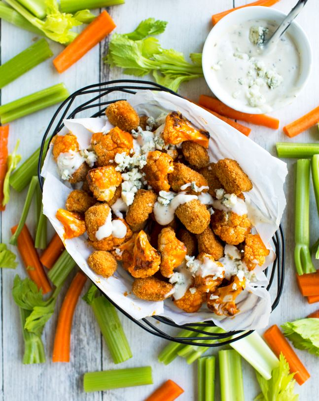 Buffalo Cauliflower and Fish Bites with Blue Cheese Crumbles