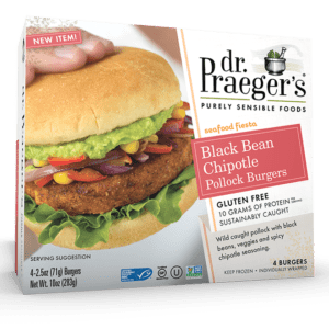 Dr. Praeger's Black Bean Chipotle Pollock Burgers