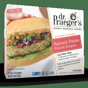 Dr. Praeger's Spinach Potato Pollock Burgers