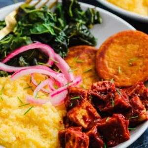 Dr. Praeger's Southern BBQ Tofu Comfort Bowl with Collard Greens and Sweet Potato Hash Browns