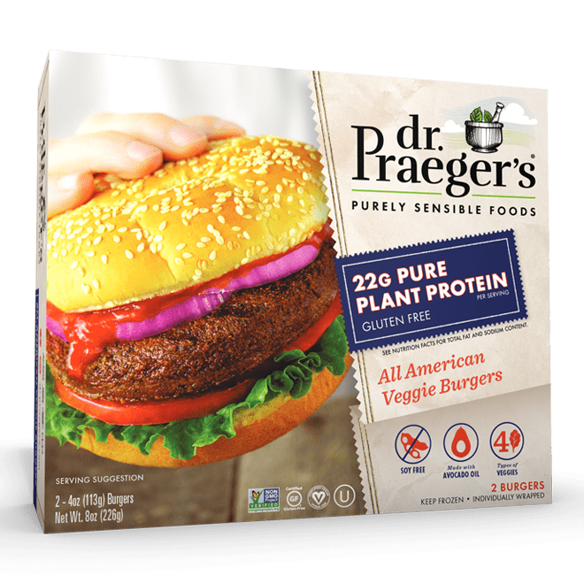 Dr. Praeger's Pure Plant Protein All American Veggie Burgers Package