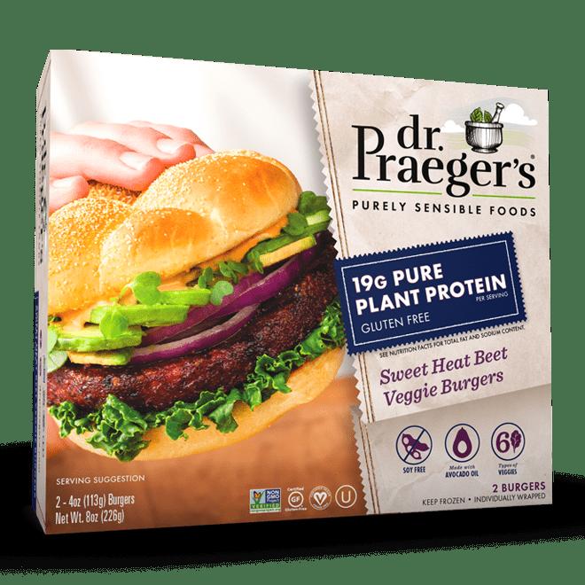 Dr. Praeger's Pure Plant Protein Sweet Heat Beet Veggie Burgers Package