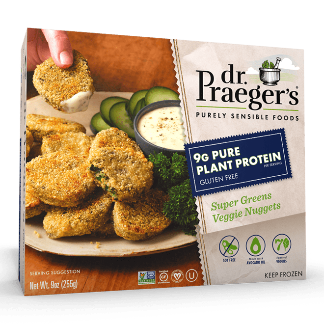 Dr. Praeger's Pure Plant Protein Super Greens Veggie Nuggets Package