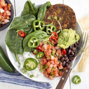 Dr. Praeger's Black Bean Quinoa Veggie Burger Spicy Taco Bowl