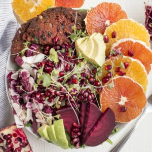 Citrus Bowl with Dr. Praeger's Sweet Heat Beet Veggie Burger