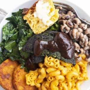 Southern BBQ Bowl with Dr. Praeger's Sweet Potato Hash Browns and Super Greens Veggie Burger