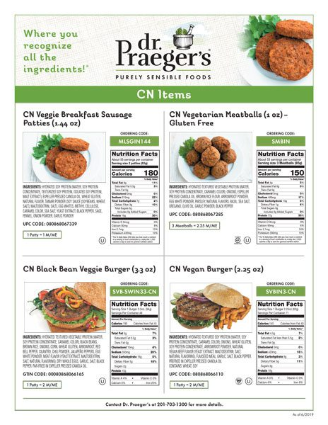 Dr. Praeger's Foodservice CN Sell Sheet