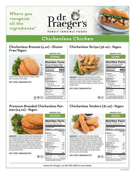 Dr. Praeger's Foodservice Chickenless Chicken Sell Sheet