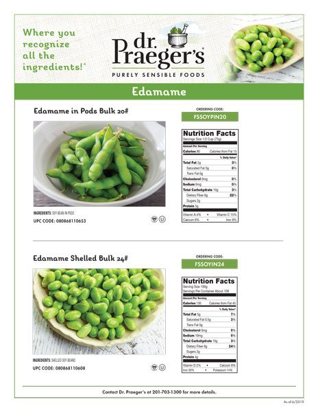 Dr. Praeger's Foodservice Edamame Sell Sheet