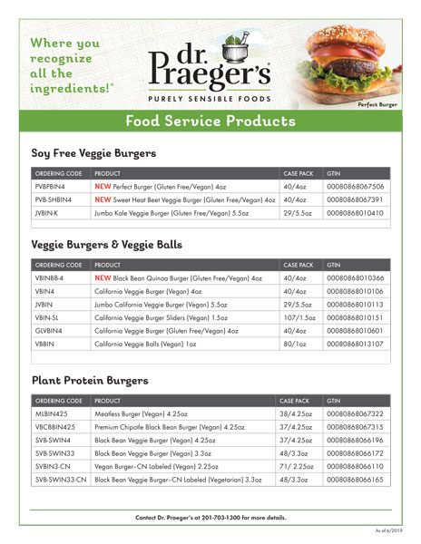 Dr. Praeger's Foodservice Full Line Sell Sheet