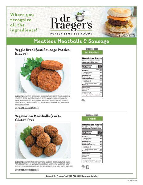 Dr. Praeger's Foodservice Meatless Meatball & Sausage Sell Sheet